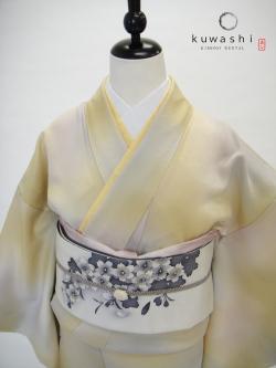 色無地 レンタル 東京 七五三 黄ピンクグレー